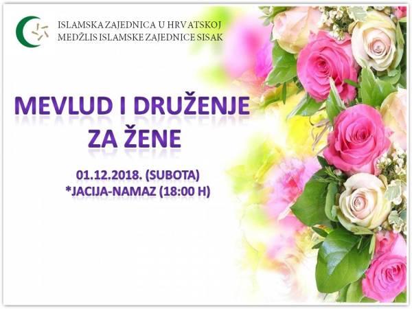 Poziv na Mevlud i druženje za žene (01.12.2018.)