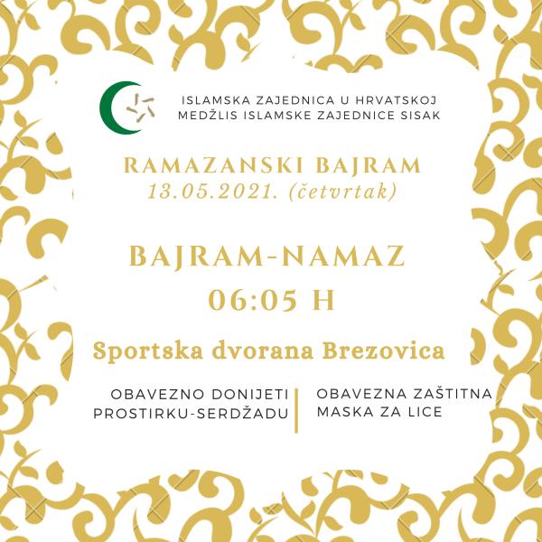 Ramazanski bajram u četvrtak, 13.05.2021.