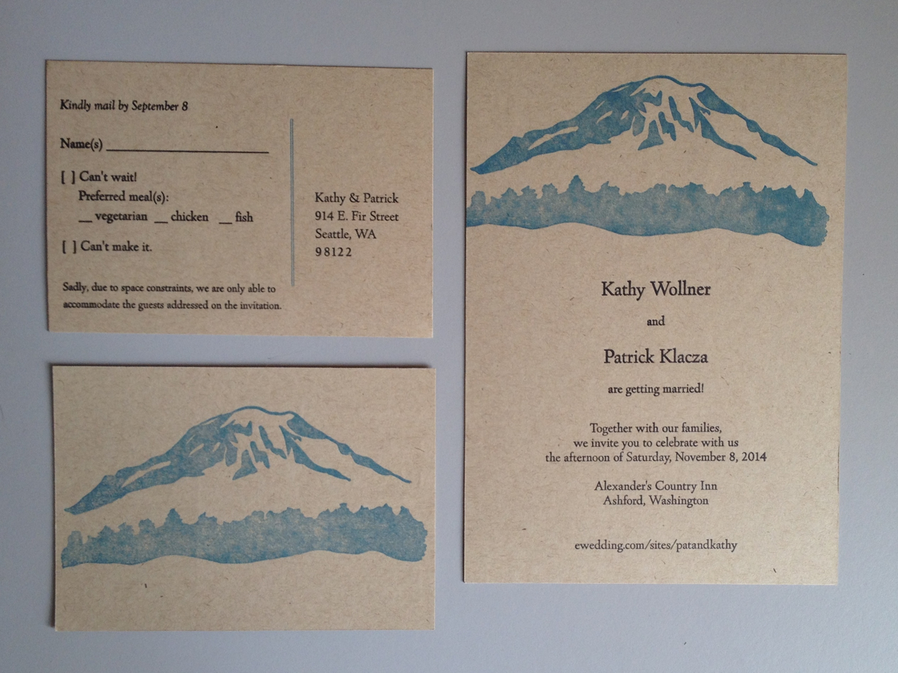 Kathy & Pat – wedding invitations