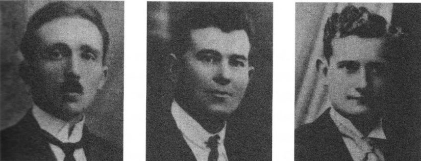 DRIE VAN DE SLACHTOFFERS VAN 11 AUGUSTUS 1944, VAN LINKS NAAR RECHTS: PETRUS VANDER MEEREN, OSCAR BEDDEGENOOTS EN AUGUST CRAENINCKX.