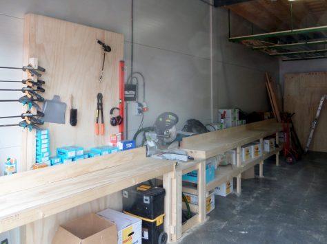 De zaagtafel met gereedschapsbord