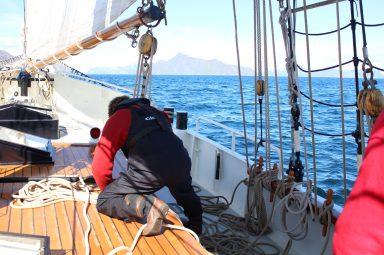 Rob in de weer met touwwerk