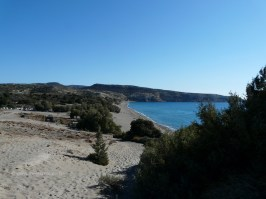 View to the east side of Komos beach in Crete