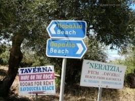 Ravdoucha beach - At this point turn left... beach signs in Ravdoucha Crete