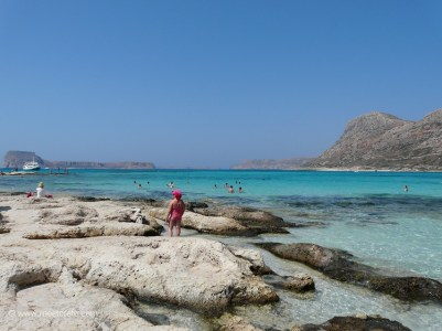 Choose between sand or gentle rocks at Balos beach Crete