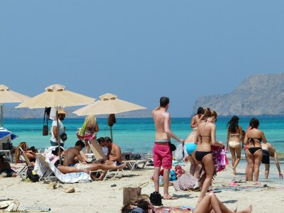 It can get a little bit crowded... at Balos beach