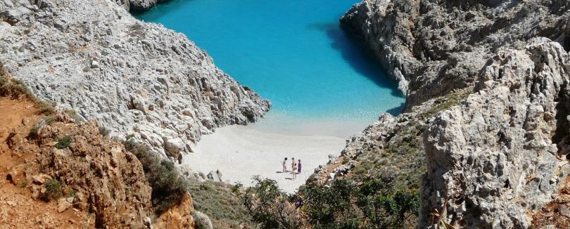 Seitan Limania bay (Stefanou beach) - the emerald waters of cape Akrotiri