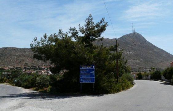 Sign post to Seitan Limania with the Skloka mountain in the background