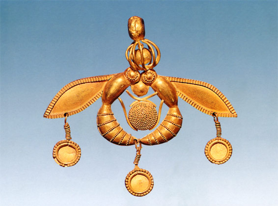 Golden Bee Pendant - Minoan Palace Malia