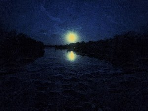 Moon Setting Over Water