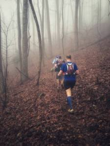 Runners in the mist