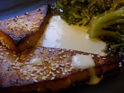 The Betty Crocker Project : Asian Tuna with Wasabi Aioli and Sesame Buttered Broccoli