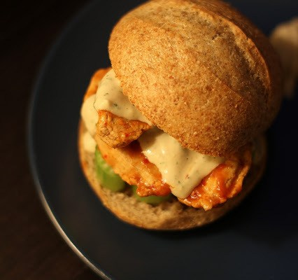 Vegan Buffalo Chicken Sliders with Ranch Dressing & A Gardein Contest! Damn.
