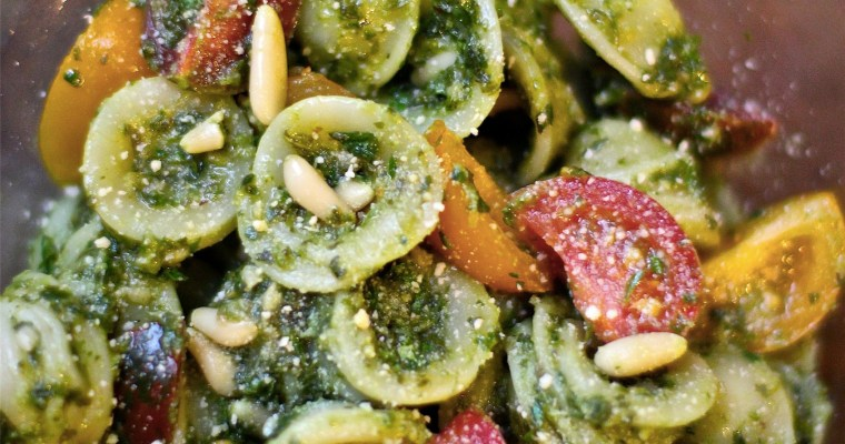 Spicy Kale & Lemon Pesto Orecchiette with Baby Heirloom Tomatoes