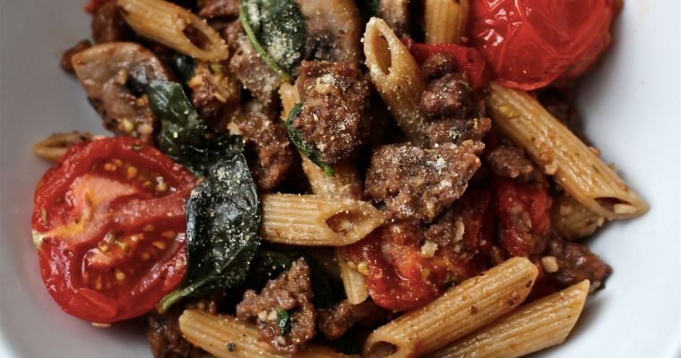 Simple Vegan Italian Sausage & Pasta Dinner