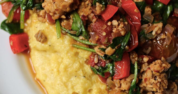 Tempeh Sausage & Heirloom Tomatoes over Black Pepper Cheezy Polenta