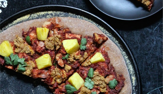 Jerk Jackfruit & Pineapple Pizza with Smoky Almond Cheese