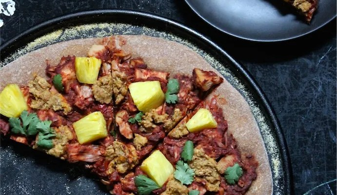 Jerk Jackfruit & Pineapple Pizza with Smoky Almond Cheese