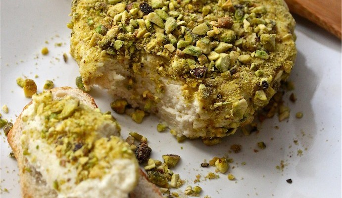 Vegan Pistachio Crusted Cashew & Coconut Cheese