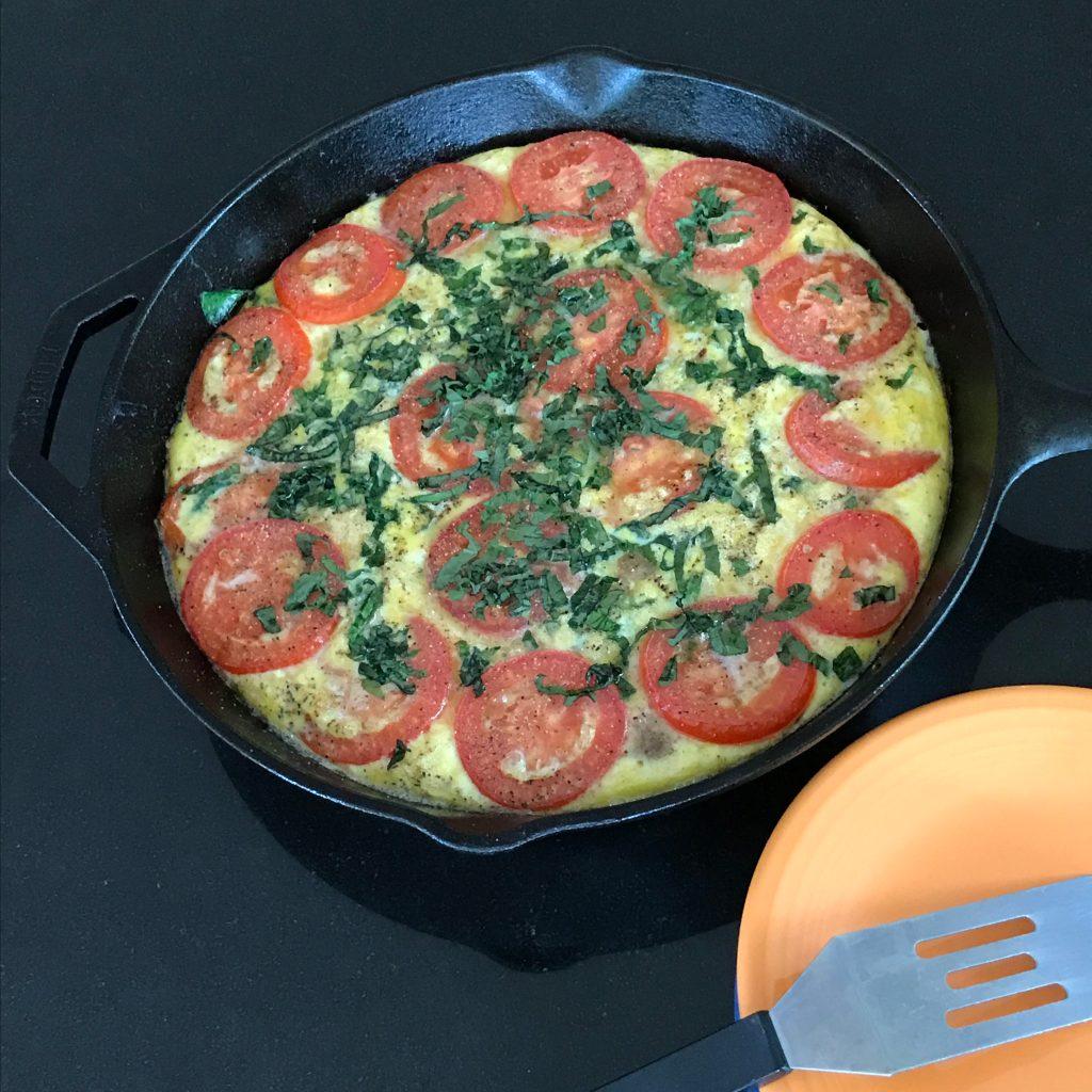 Sausage Spinach Tomato Frittata Done