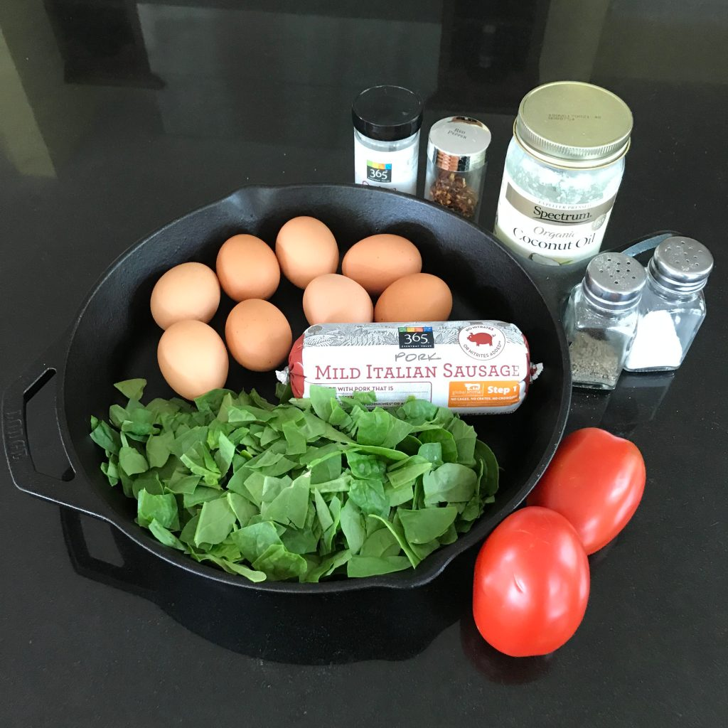 Sausage Spinach Tomato Frittata Ingredients