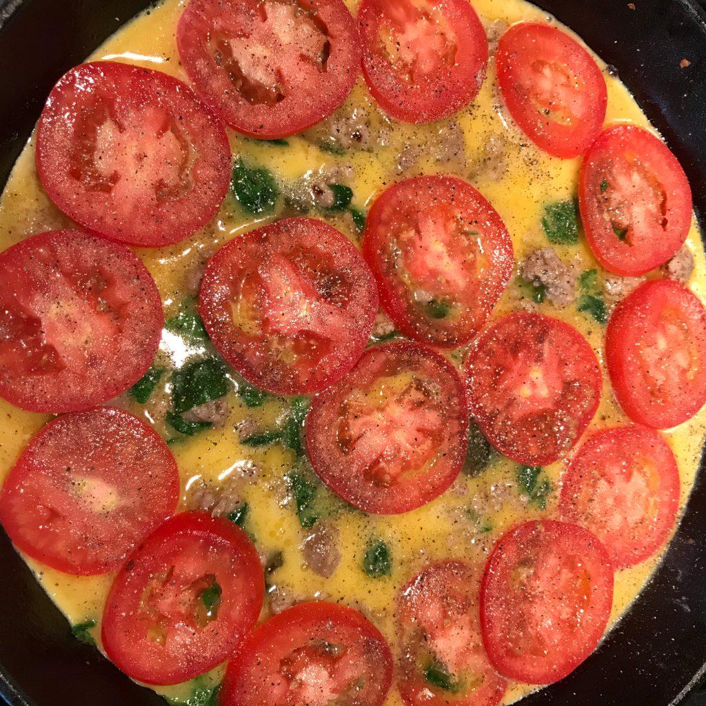 Sausage Spinach Tomato Frittata Adding Tomatoes