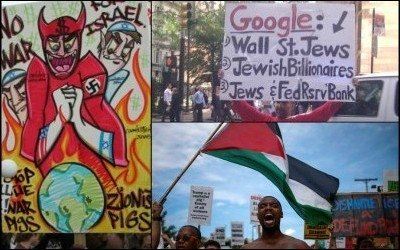 Social Justice becomes antisemitism: Clockwise from left: A 2003 anti-war rally in San Francisco; a 2011 Occupy Wall Street protest in New York City; a 2016 Black Lives Matter protest in Cleveland, Ohio.