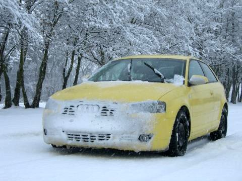 der Audi spielt im Schnee