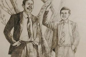 鉛筆画「二人の男性(懐かしい昭和)」 | tami [pixiv] http://www.pixiv.net/member_illust.php?mode=medium&illust_id=60127342