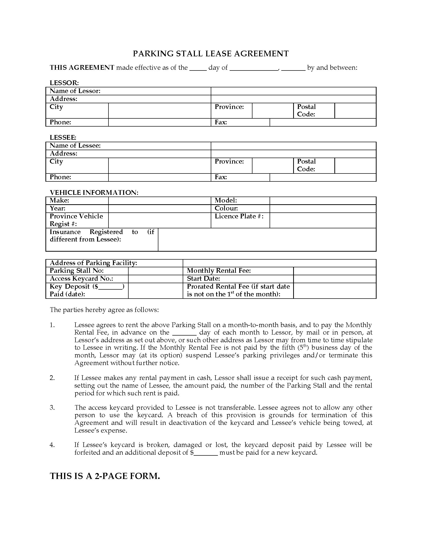 British Columbia Parking Stall Lease Form