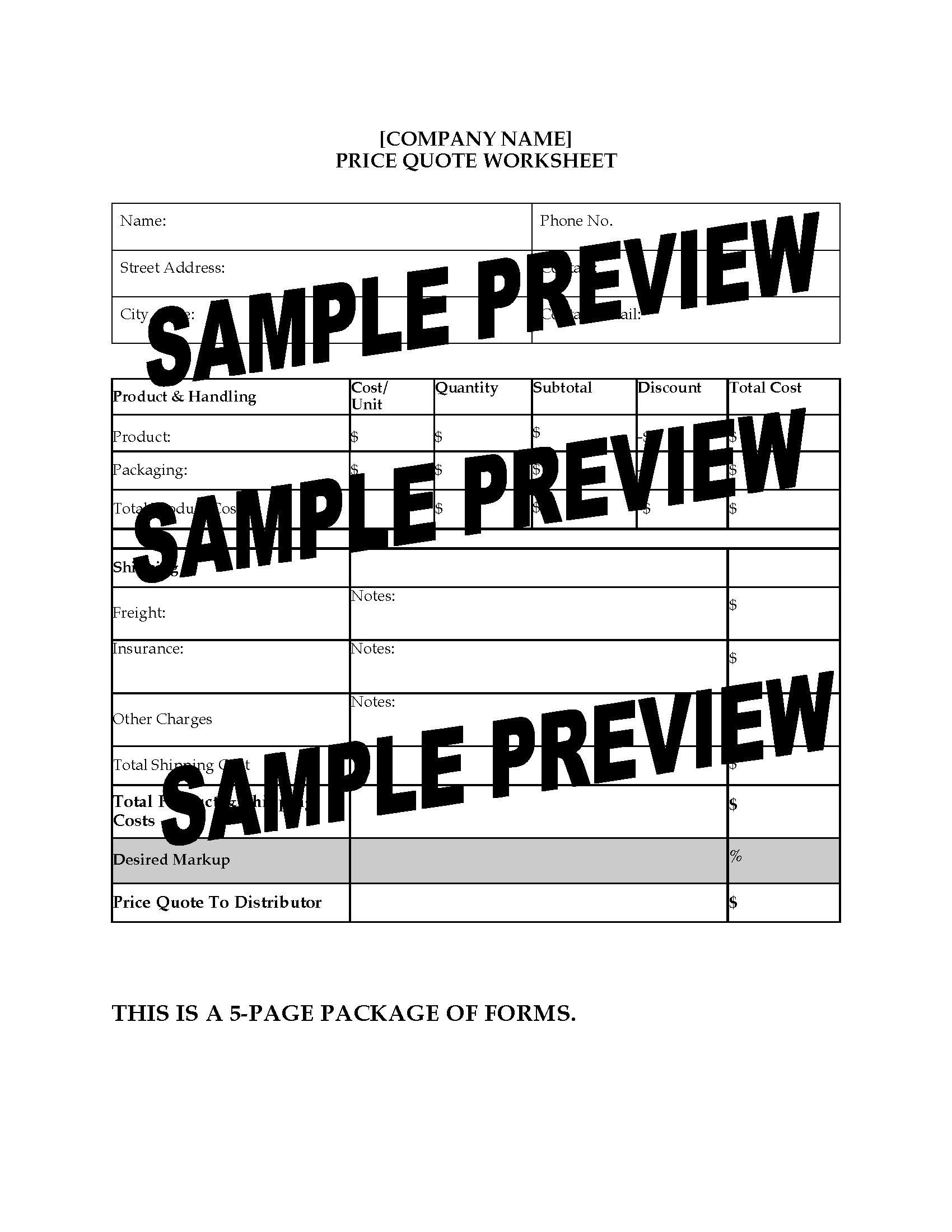 Sales Department Worksheets Package