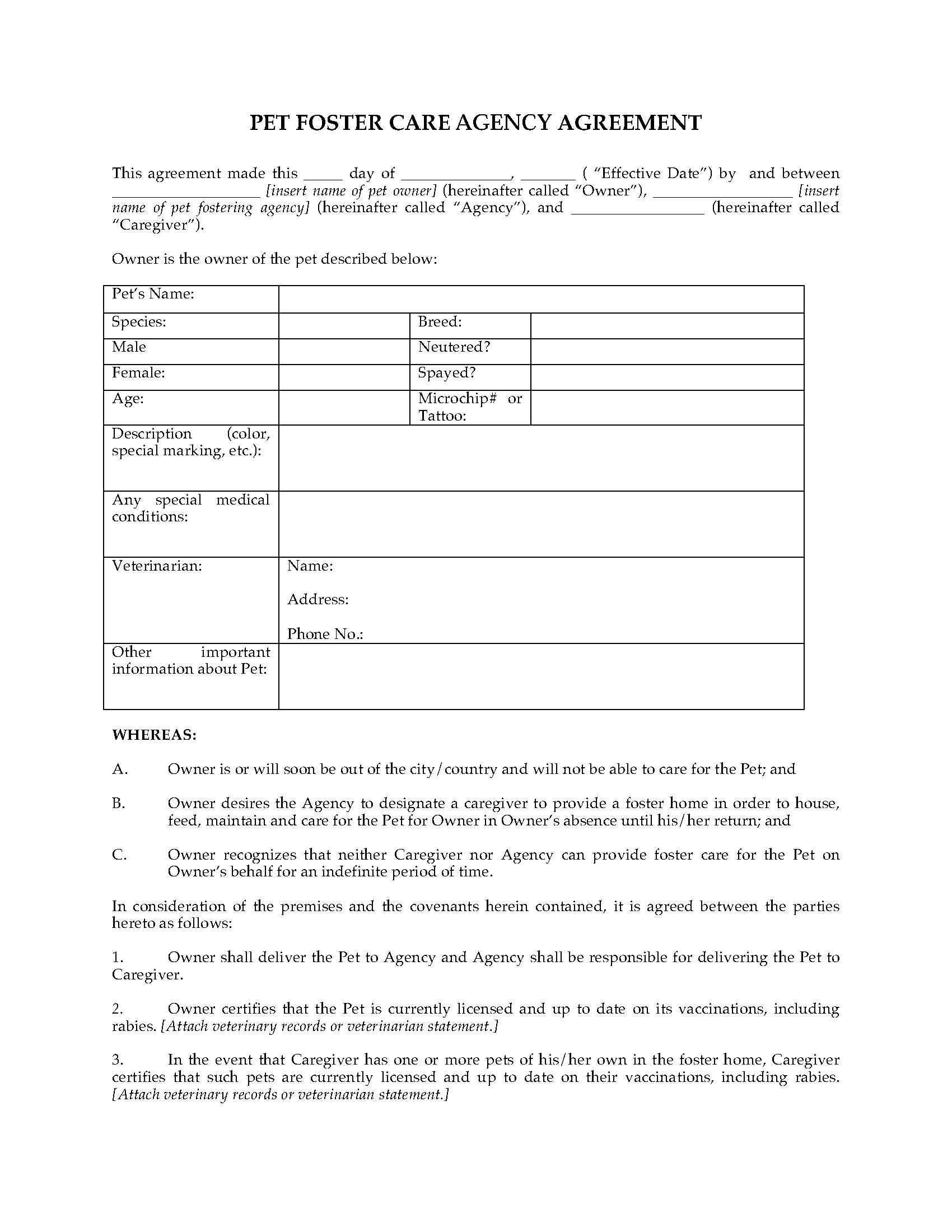 Pet Foster Care Agreement