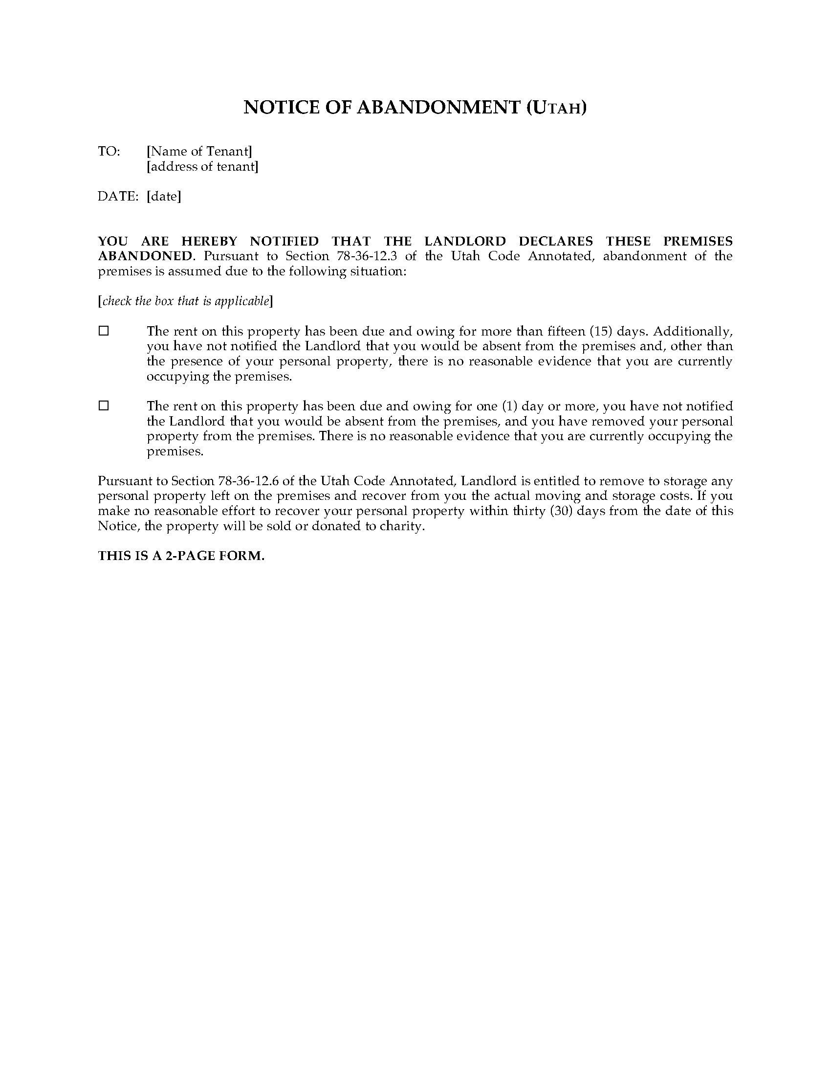 Utah Notice Of Abandonment