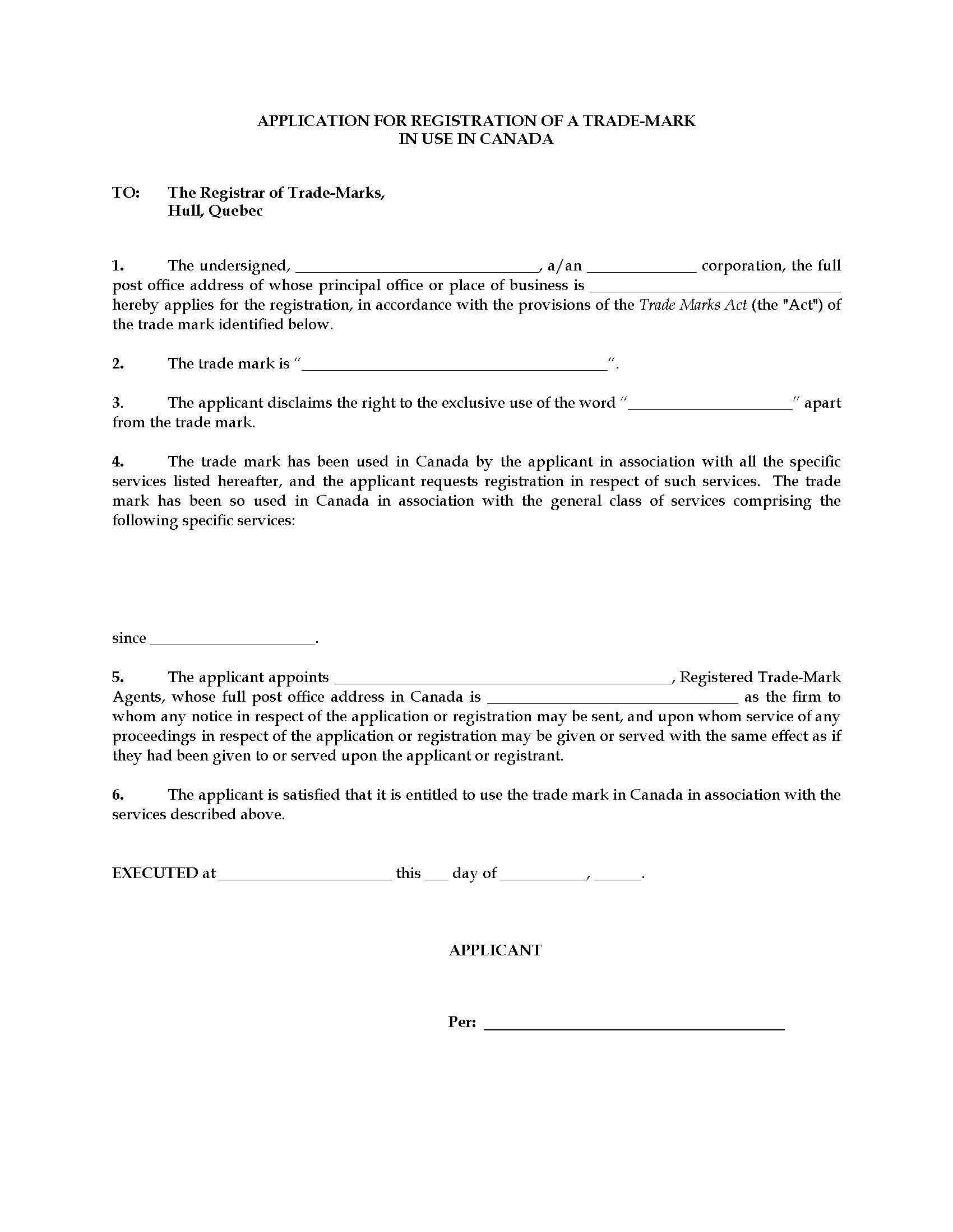 Canada Trade Mark Application Form 1