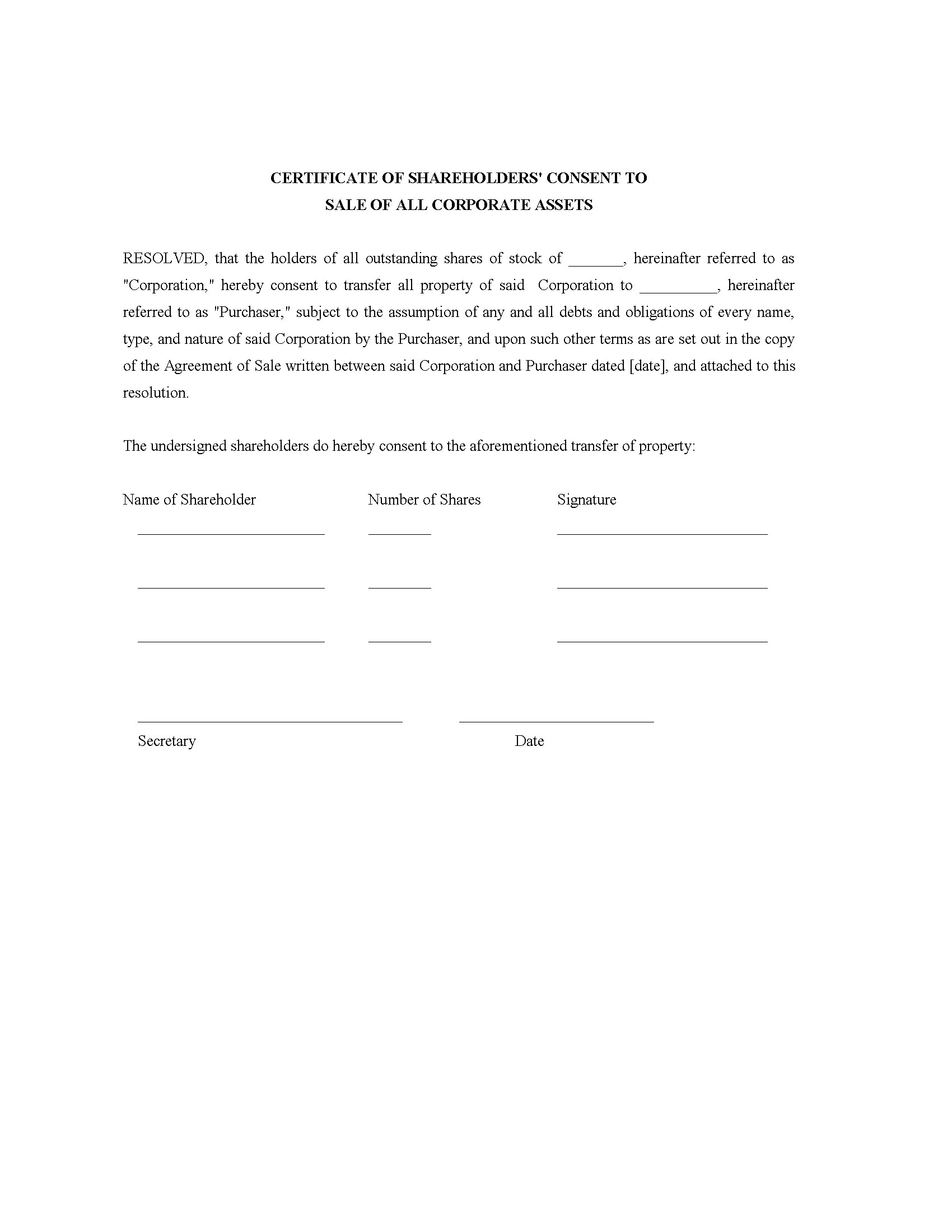 Certificate Of Shareholder Consent To Sale Of Assets