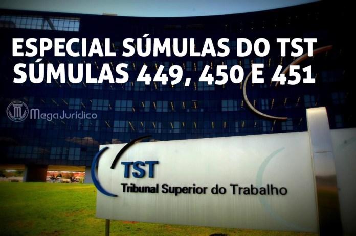 especial sumulas 449 450 451 TST