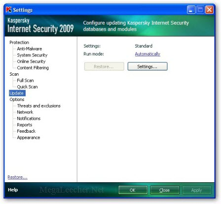 Kaspersky Update Settings