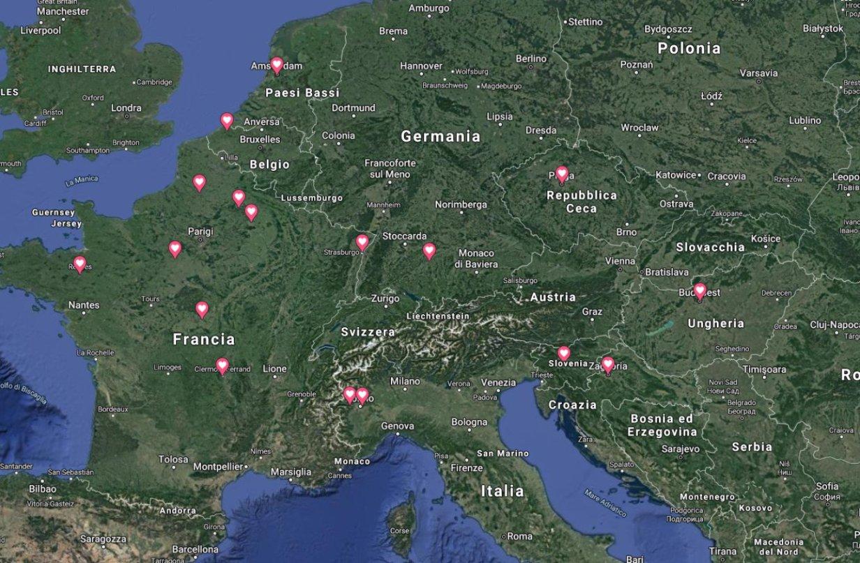 Mappa Cattedrali Vergine Basiliche Chiese Megalitico Europa