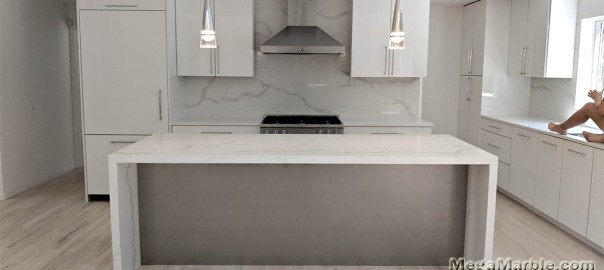 White Marble Countertops Kitchen Island Mega Marble