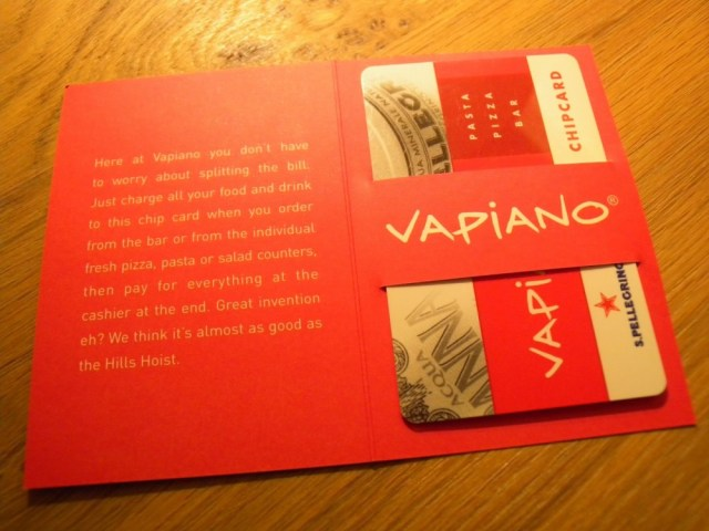 Restaurant vapiano card 1