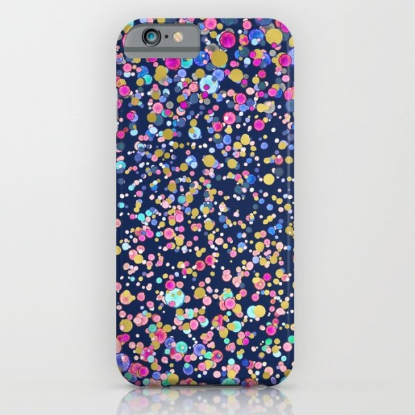 Gold Confetti Color Blue Society 6 Case - Megan & Wendy Gift Guide 2015