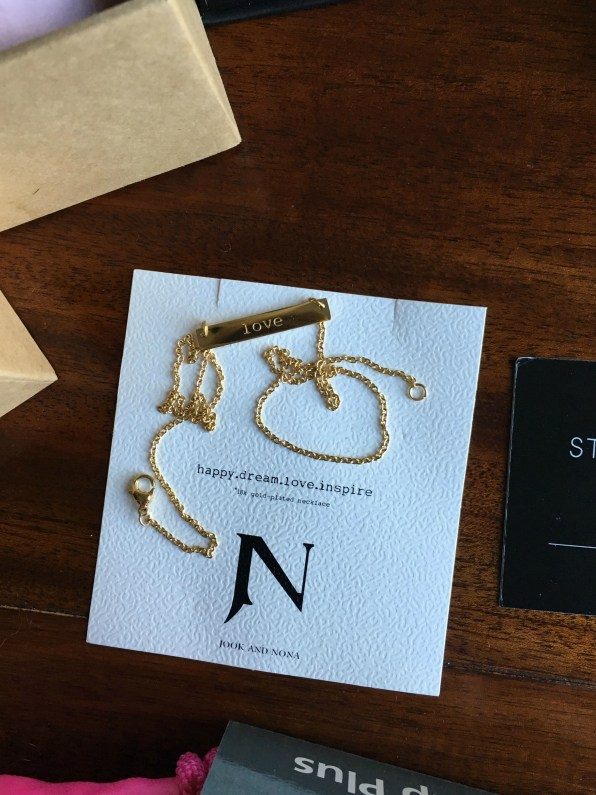 Jook and Nona Gold Plated Tag Necklace