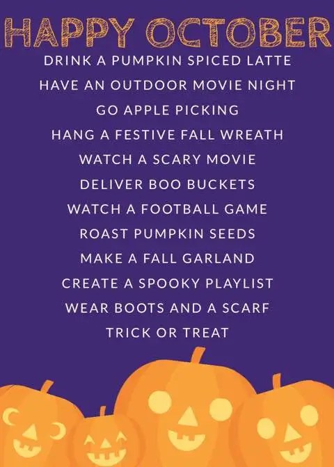 Happy October! Pin or print this October bucket list featuring fun fall activities like movie nights, watching a scary movie and craft ideas.