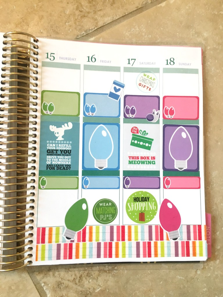 Plan With Me Holiday Edition: A holiday themed planner spread from Long Story Short with Megan and Wendy. Featuring stickers from: Lillie Henry, KG Planner, The Happy Planner