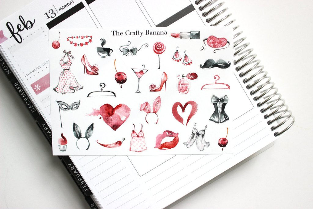 Pink Valentine's Planner Stickers