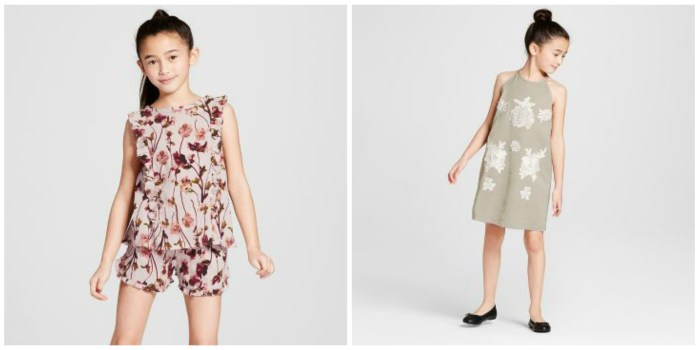 VB x Target Floral Romper and Sage Green Dress