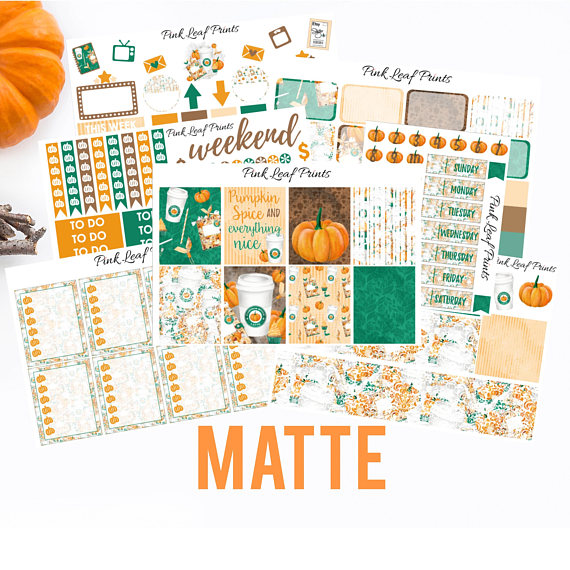 Matte pumpkin spice planner sticker kit from pinkleafprints this kit is available for both happy planner and erin condren vertical layouts