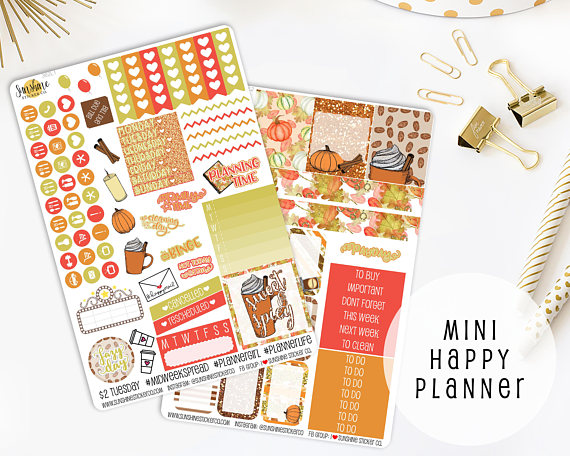 Pumpkin spice planner kit for mini happy planner this kit is advertised as being specifically for the mini happy planner or any other vertical planner