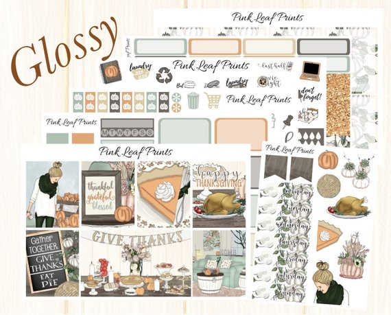 Thanksgiving Planner Stickers - Fill in your Erin Condren or Plum Paper Planner with these adorable planner stickers that celebrate all things fall and Thanksgiving!
