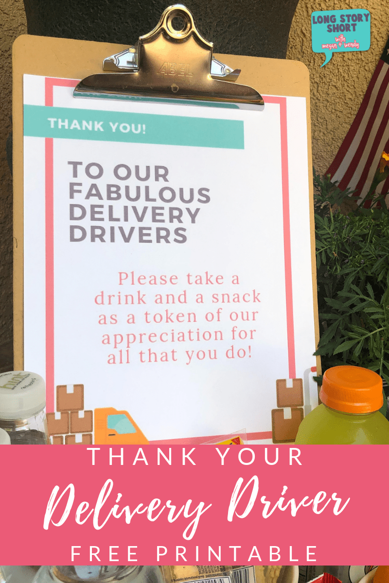 Free Delivery Driver Printable Sign Long Story Short